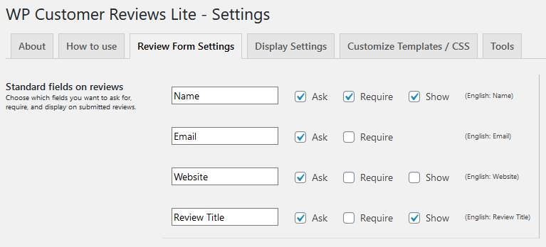 Review Form Settings