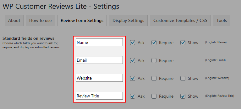 WP Customer Reviews項目名を変更したい場合